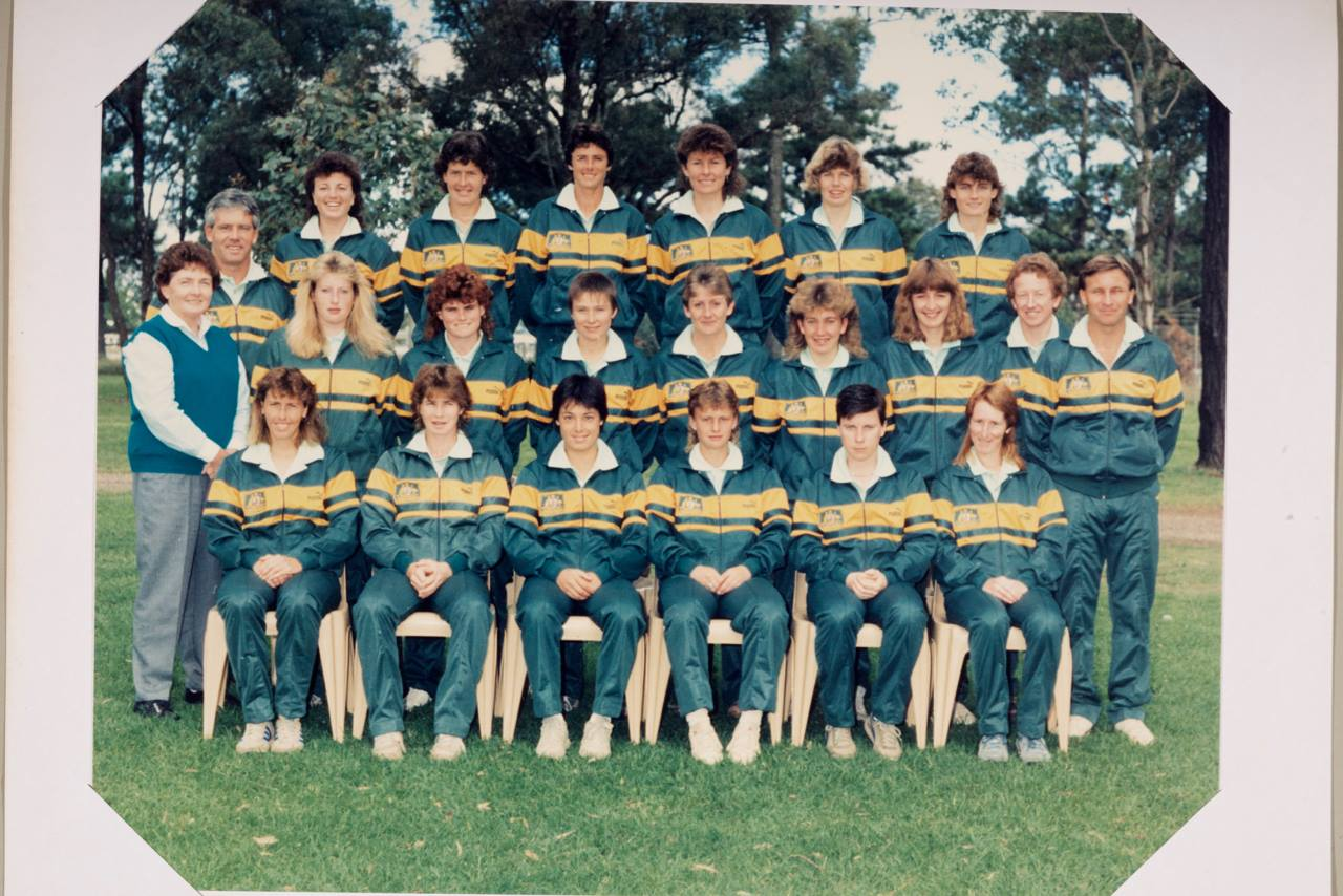 The Matildas squad of 1988. Wardell is second from the right on the bottom row. Credit: Moya Dodd.