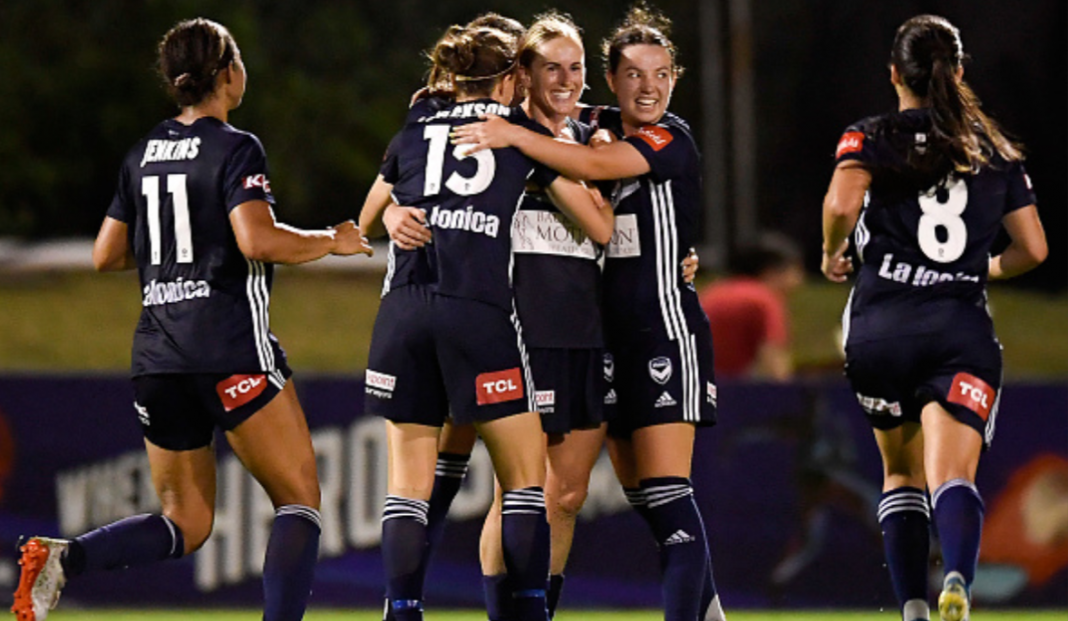 W-League Round 2 Wrap: BRISBANE, AUSTRALIA - NOVEMBER 21: Natasha Dowie of the Victory celebrates scoring a goal during the round two W-League match the between Brisbane Roar and the Melbourne Victory at Dolphin Stadium on November 21, 2019 in Brisbane, Australia. (Photo by Albert Perez/Getty Images)