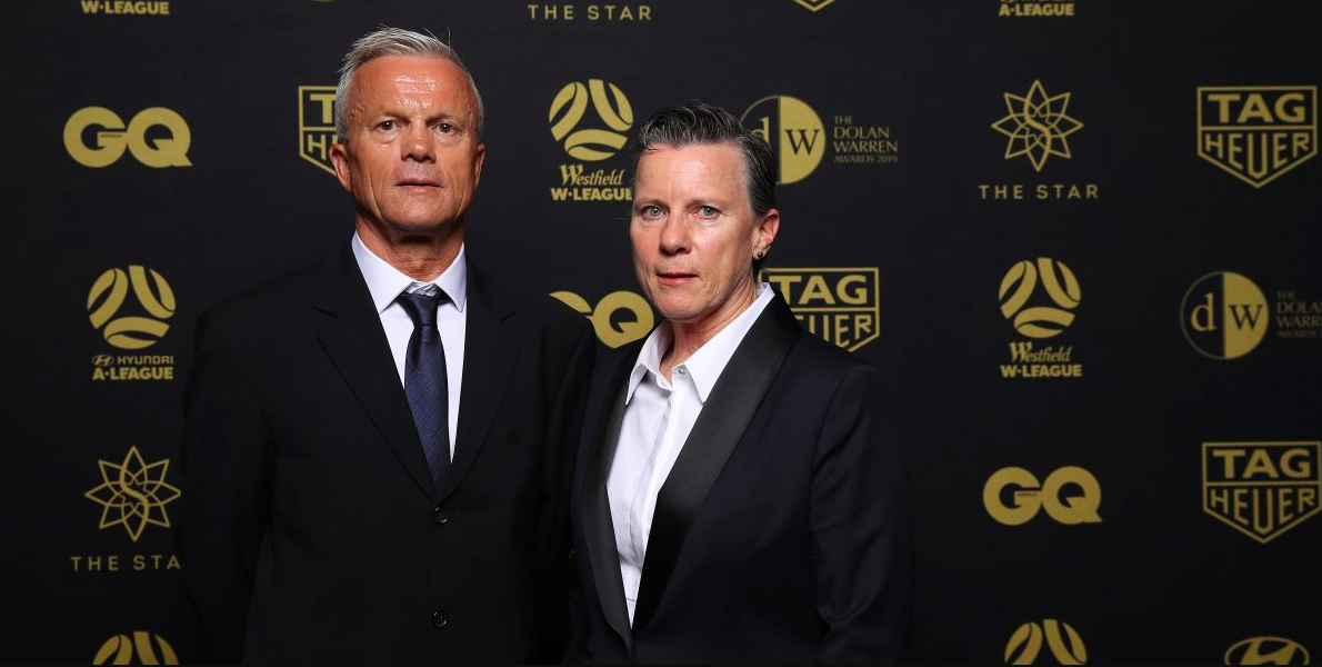 Leigh Wardell and Branko Culina at the FFA Hall of Fame ceremony. Credit footballnws.com.au